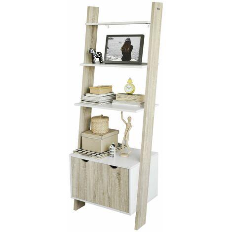 SoBuy® Estanterías librerias, Biblioteca de almacenamiento en rack 4 estantes con 1 armario moderno, FRG110-WN, ES