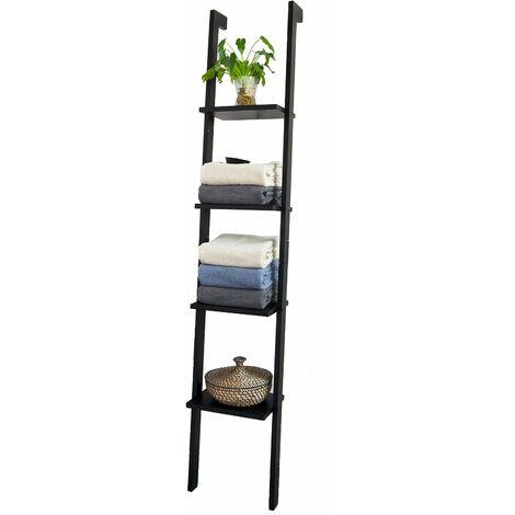 SoBuy® Estanterias libreriastanterias de diseñotantería de pared, negro, 4 estantes, FRG15-SCH, ES