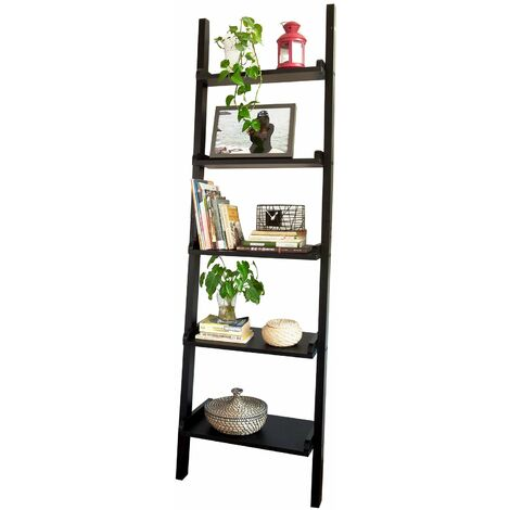SoBuy® Estanterias libreriastanterias de diseñotantería de pared, negro, 5 estantes, FRG17-SCH, ES