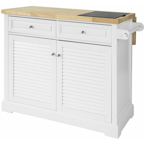 SoBuy Extendable Kitchen Storage Trolley Kitchen Island with Rubber Wood & Marble Top,FKW84-WN