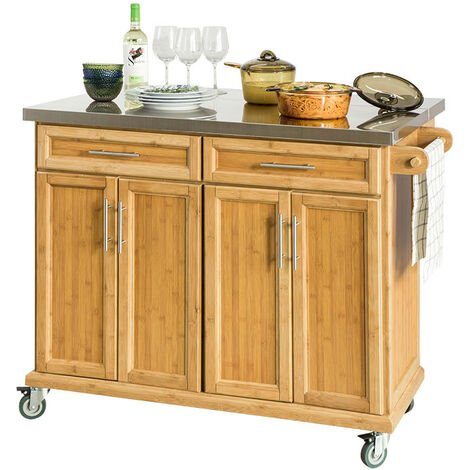 SoBuy Extendable Worktop Kitchen Trolley Island Storage Cupboard, FKW69-N
