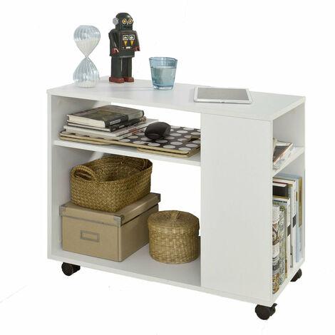 SoBuy® FBT34-W,ES Mesa auxiliar con 2 estantes, Consola,mesita de noche con ruedas