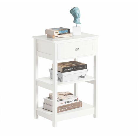 SoBuy® FBT46-W,ES Mesa auxiliar con 1 cajón, Consola,mesita de noche para salón comedor, teléfono o lampara (Blanco)