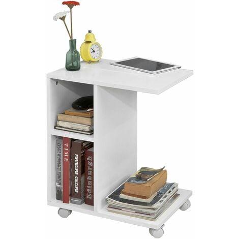SoBuy® FBT48-W Mesa auxiliar con 2 estantes, Consola, mesita de noche con ruedas para ipad, teléfono o lampara