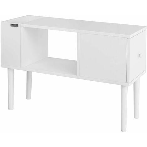 SoBuy® FBT60-W Mesa auxiliar con 1 cajón y 2 huecos, tabla de consola, L75 x H51cm, blanco