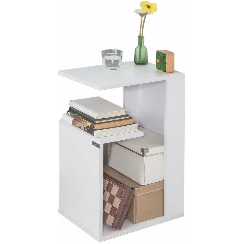 SoBuy® FBT69-W,ES Mesa auxiliar con 2 estantes, Consola,mesita de noche  para salón comedor