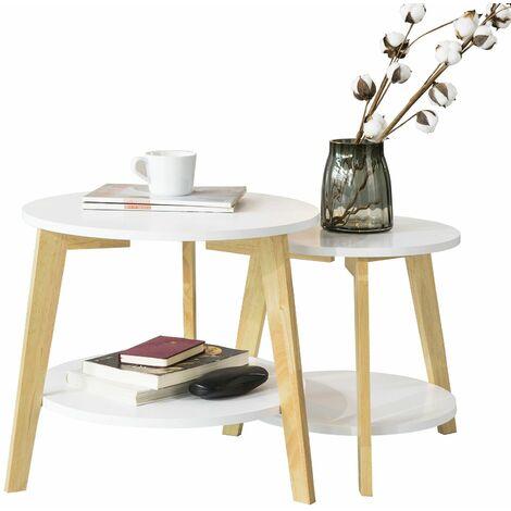 SoBuy FBT75-W Mesa de café Set 2 Mesas auxiliares Color Blanco ES