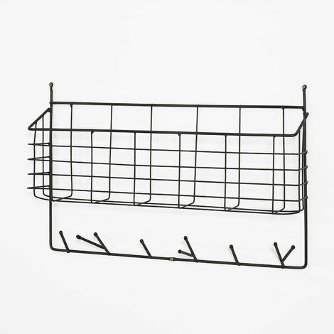 SoBuy FHK09-SCH,Perchero de pared con ganchos hierro,estante de pared, con 6 ganchos y 1 bandeja,ES