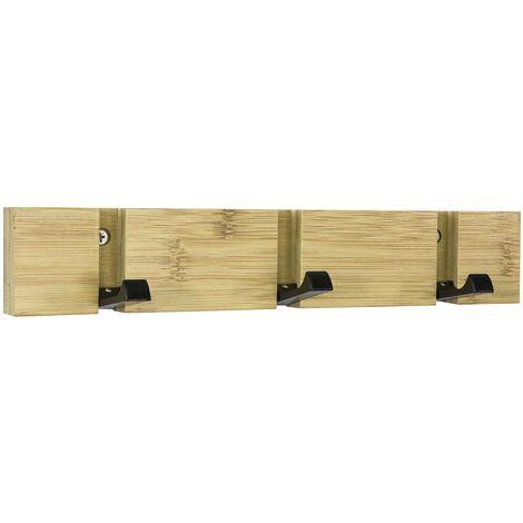 SoBuy FHK14-N Perchero de Pared con Ganchos bambú,Estante de Pared, con 3 Ganchos,L 30cm ES