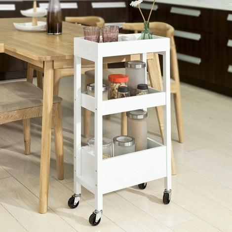 SoBuy FKW49-W,Carrellino salvaspazio,carrellino per il bagno o cucina, portaoggetti su rotelle, IT