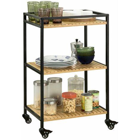 SoBuy FKW65-N Carrito de cocina, carrito de servir- 3 estantes, 4 ruedas,ES