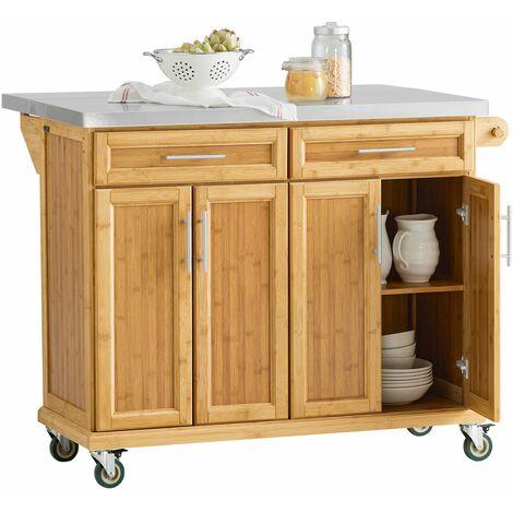 SoBuy FKW69-N,Carrito de cocina con piso de acero,con tablero extensible, carrito de servir de bambú,L115 x P46 x H92cm,ES