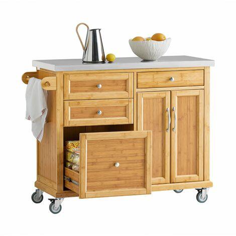 SoBuy FKW70-N,Carrito de cocina con piso de acero, estantería de cocina, carrito de servir de bambú,L115 x P46 x H92cm,ES