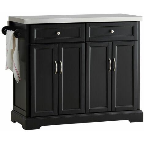SoBuy FKW71-SCH,Carrito de cocina con piso de acero,con tablero extensible,L115 x P46 x H92cm,ES