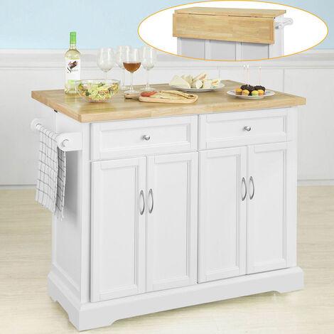 SoBuy FKW71-WN,Carrito de Cocina con Piso de Madera de caucho,con Tablero Extensible,L115 x P46 x H92cm,ES