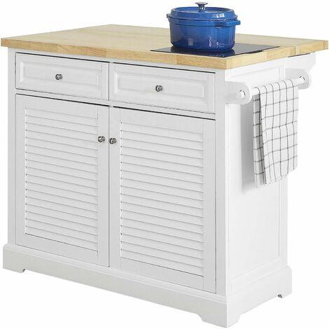 SoBuy FKW84-WN Kücheninsel Küchenwagen mit erweiterbarer Arbeitsplatte Sideboard auf Rollen