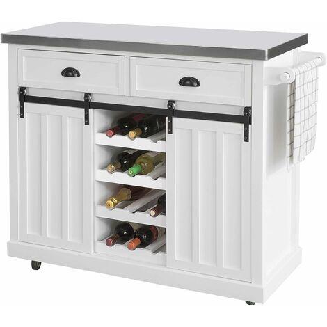 SoBuy FKW94-W Design Küchenwagen mit Flaschenablage Küchenschrank Kücheninsel