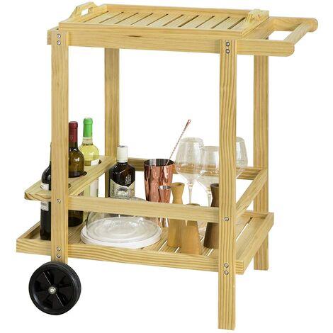 SoBuy FKW95-N Servierwagen mit Flaschenhalter und einem abnehmbaren Tablett Küchenwagen Barwagen