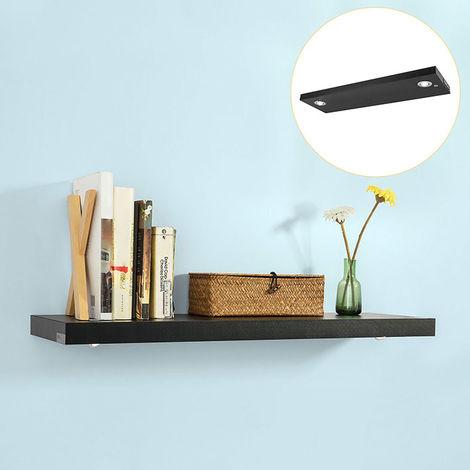 SoBuy Floating Wall Shelf Storage Display Rack with LED Light Black,WDR01-SCH