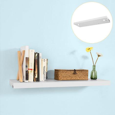 SoBuy Floating Wall Shelf Storage Display Rack with LED Light White,WDR01-W