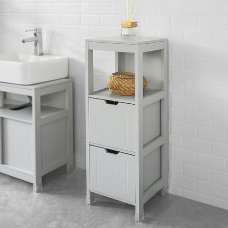 SoBuy Floor Standing Bathroom Storage Cabinet Unit with 1 Shelf and 2 Drawers Grey,FRG127-HG