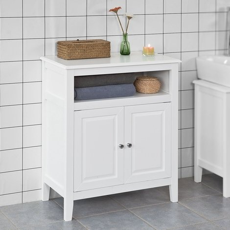 SoBuy Free Bathroom Standing Cupboard Storage Cabinet, White Wood,FRG204-W