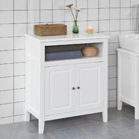 SoBuy Free Bathroom Standing Cupboard Storage Cabinet, White Wood,FRG204-W