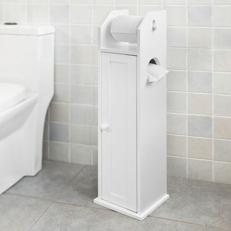 SoBuy Free Standing Wood Bathroom Cabinet,Toilet Paper Roll Holder, FRG135-W