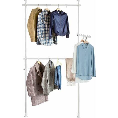 SoBuy FRG109-W, White Telescopic Wardrobe Organiser, Hanging Rail, Clothes Rack, Adjustable Storage Shelving