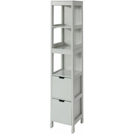 SoBuy FRG126-HG Mueble Columna de baño Armario para baño-3 estantes y 2 Cajones ES