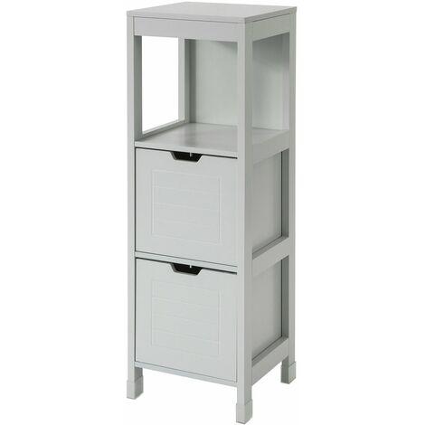 SoBuy FRG127-HG Mueble Columna de baño Armario para baño-1 estantes y 2 Cajones ES