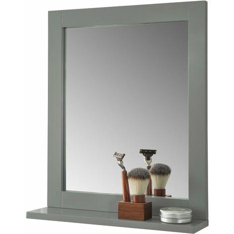 SoBuy FRG129-SG Espejo de Pared con 1 Estante Espejo de baño ES
