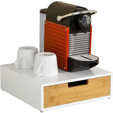 SoBuy FRG179-WN,ES Estante Cafetera, Soporte para Cápsulas de Café o Bolsas de Té, con 1 Cajón