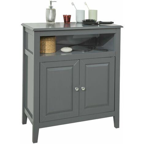 SoBuy FRG204-DG Armario para de baño,aparador con 2 Puertas y Estante,L 69 x P 33 x H 80cm,ES (Gris)