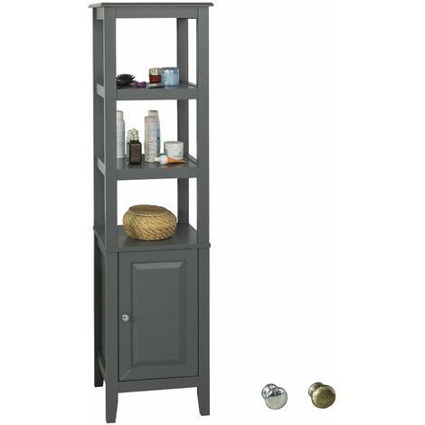 SoBuy FRG205-DG, Mueble Columna de baño, Armario para baño,estanterías de baño- 3 estantes y 1 Puerta,ES