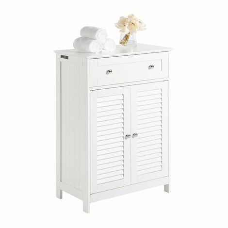 SoBuy FRG238-W, ES Mueble Auxiliar para baño, Armario de almacenaje Organizador para baño con 1 cajones y 2 Puertas
