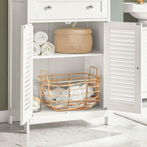 8f2ab713c SoBuy FRG238-W, ES Mueble Auxiliar para baño, Armario de almacenaje Organizador  para baño con 1 cajones y 2 Puertas