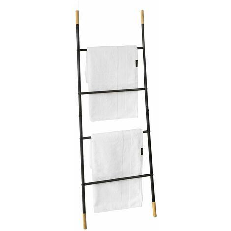 SoBuy FRG264-SCH Toallero escalera para apoyar en la pared, Práctico colgador de toallas con 4 barras, ES