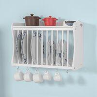 SoBuy FRG275-W Tellerhalter in weiß Tellerregal Wandregal Küchenregal mit 6 Haken Landhausmöbel, BHT ca.: 54x38x24cm