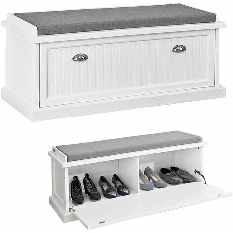 SoBuy® FSR41-W Zapatero con asiento, armario, Banco de Almacenamiento con cajón y cojín para Guardar y Ordenar