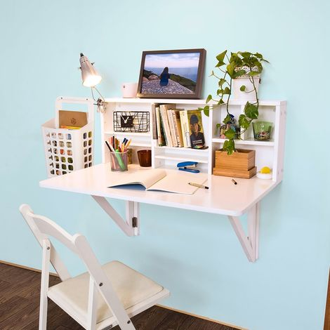 SoBuy FWT07-W, Folding Wooden Wall-Mounted Drop-Leaf Table Desk Integrated with Storage Shelves,White