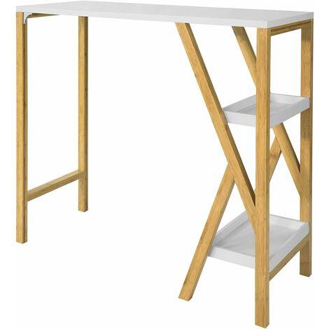 SoBuy FWT56-W Design Bartisch Stehtisch Küchentheke Küchenbar mit 2 Regalfächern