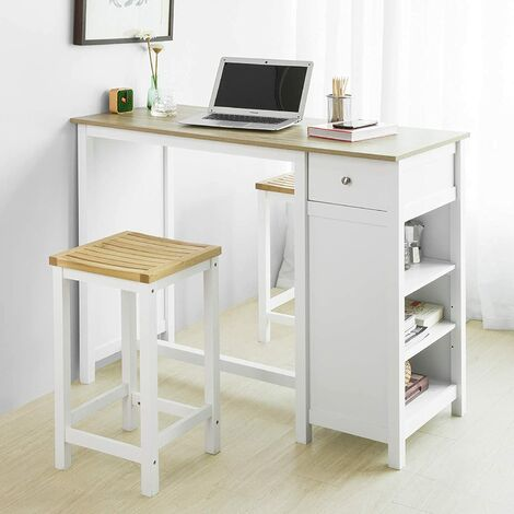 SoBuy FWT64-WN Bartisch Küchentheke Küchenbartisch mit 3 Regalfächern Bistrotisch Kücheninsel Tresentisch