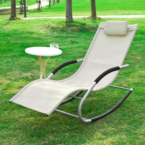 SoBuy Garden Rocking Deck Chair Recliners with Footrest,Beige,OGS28-MI