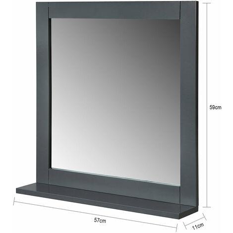 SoBuy Grey Wall Mounted Bathroom Mirror with Shelf, 57 x 11 x 59cm,BZR16-DG