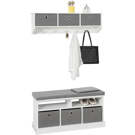 SoBuy Hallway 3 Baskets Shoe Storage Bench Seat Stool With Cushion FSR67-HG