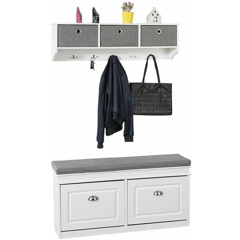 SoBuy Hallway Furniture Set, 3 Baskets Hallway Storage Bench with Wall Storage Cabinet,FSR64-W+FRG282-W