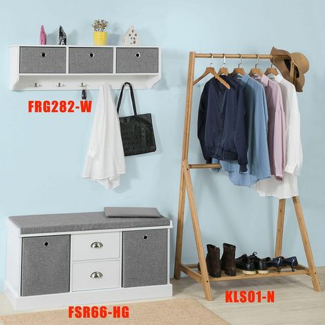 SoBuy Hallway Furniture Set, 3 Baskets Hallway Storage Bench with Wall Storage Cabinet,FSR67-HG+FRG282-W