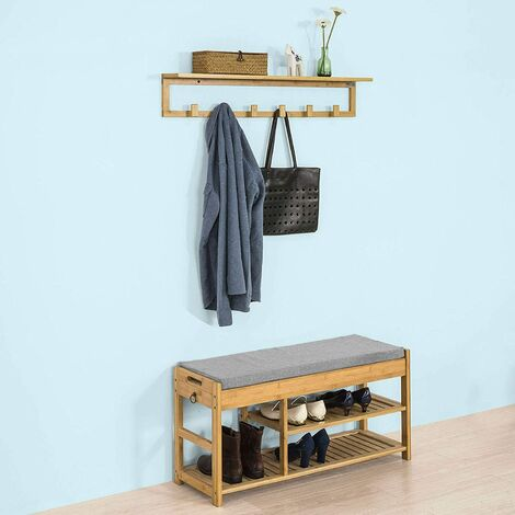SoBuy Hallway Furniture Set, Bamboo Shoe Rack Shoe Bench with Wall Coat Rack,FSR47-N+FHK06-N