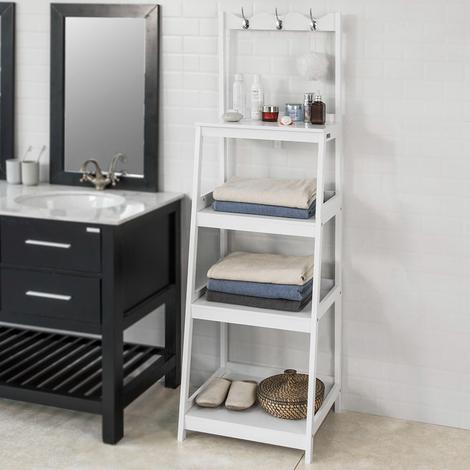 SoBuy Hallway Office Ladder Storage Shelf Standing Rack White Wood,FRG279